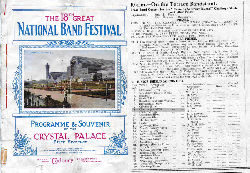 Programme and band list for 1923 Challenge Shield